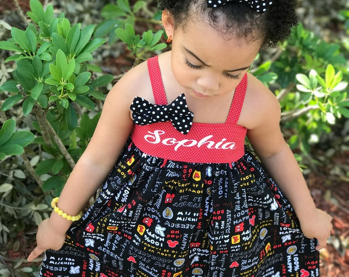Toddler Disney Clothes -  Minnie Mouse Dress - Baby Disney Clothes  - Toddler Girl Clothes - Disney Dress for Girls  - 6 mos to 8 yrs