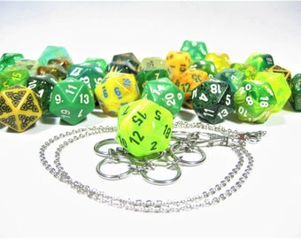 Green & Yellow d20 Necklace and Key Chain Combo With Removable Dice - Gifts for Geeks and Gamers