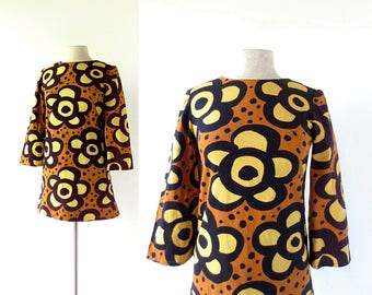 1960s Mini Dress | Kukkakuvio | Floral Print Dress | 60s Dress | XS