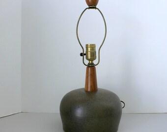 "Marshall Martz Lamp, Mid Century Modern Pottery 17"" Table Accent Lamp"