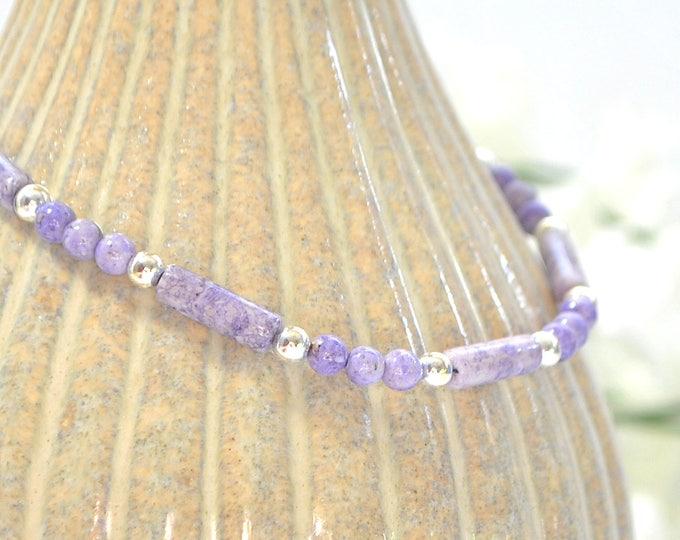 Lavender Ankle Bracelet 9.5 inch Small Anklet Minimalist Ankle Bracelet