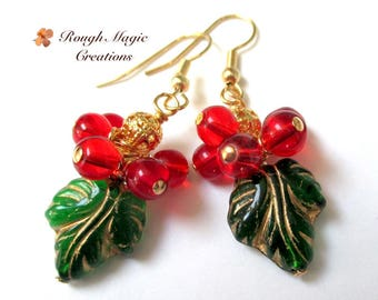 Holly & Ivy Earrings, Red Green Christmas Jewelry, Green Gold Czech Glass Leaves, Bright Red Berry Beads, Holiday Gift Idea for Women E454