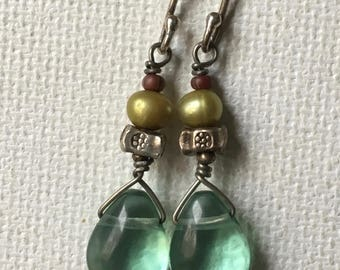 Green Fluorite Earrings, Charm Earrings, Pearl Earrings, Hill Tribe Silver Earrings, Drop Earrings, Boho Earrings, Tribal Earrings