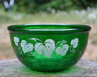 Mid-Century Anchor Hocking Forest Green Mixing Bowl with Grape Leaves