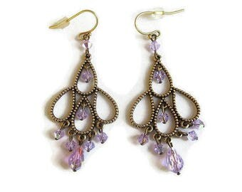 Aurora Borealis Purple Crystals Dangle Earrings Vintage Boho Hippie Style