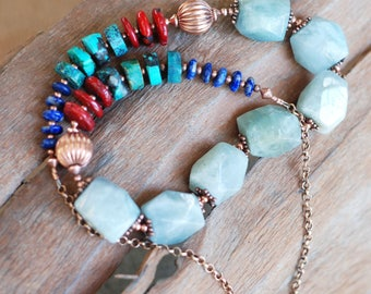 Aquamarine Copper Necklace with Turquoise, Lapis Lazuli, Coral,  Copper Gemstone Necklace, Statement Necklace, Bold, Chunky Necklace