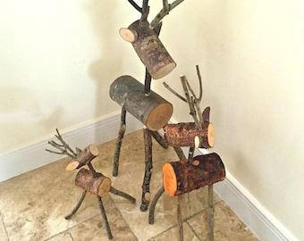 LOG DEER FAMILY - Set of 3 - Reindeer - Deer - Rustic - ornament - decoration - Christmas - gift - garden - display - visual merchandising