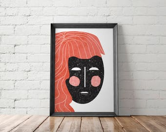 Modern Print, Face Art, Geometric Printable, Graphic Poster, Illustrated Print, Fashion Print, Feminist Print, Abstract Print, Girl Print