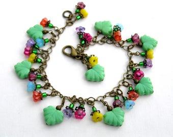 Flower Charm Bracelet, Summer Bouquet Bracelet