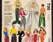 Vintage DOLL CLOTHES Sewing Pattern ~ Barbie & Ken Fashion Dolls Wardrobe McCalls 730 Uncut