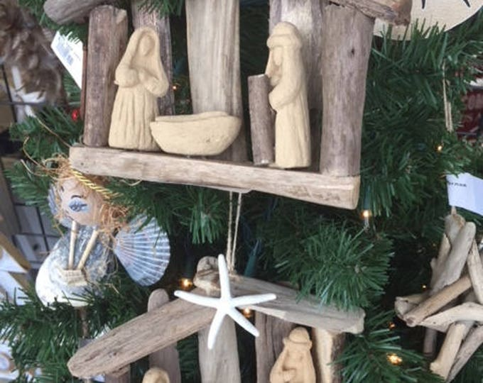 6 ORIGINAL OBX Driftwood nativity ornaments Christmas tree religious creche wood manger scene nativity Outer Banks starfish BeachHouseDreams