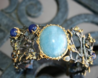HEAVY 925 Sterling Silver 14 K gold, and Black Rhodium nature style with vines natural blue aquamarine stone ,sapphire stones Cuff bracelet