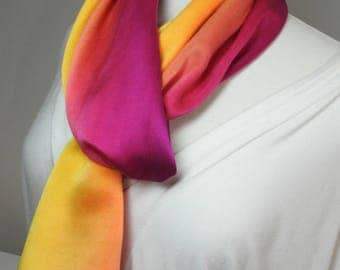 NEW FOR SUMMER! Silk Scarf, Charmeuse, Hand Painted 100% Silk Charmeuse Scarf - Golden Yellow to Fuschia