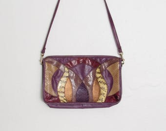 1980s Palizzio Purse / Purple & Mulitcolored Snakeskin Shoulder Bag / 80s New Wave / Rocker Vintage Clutch