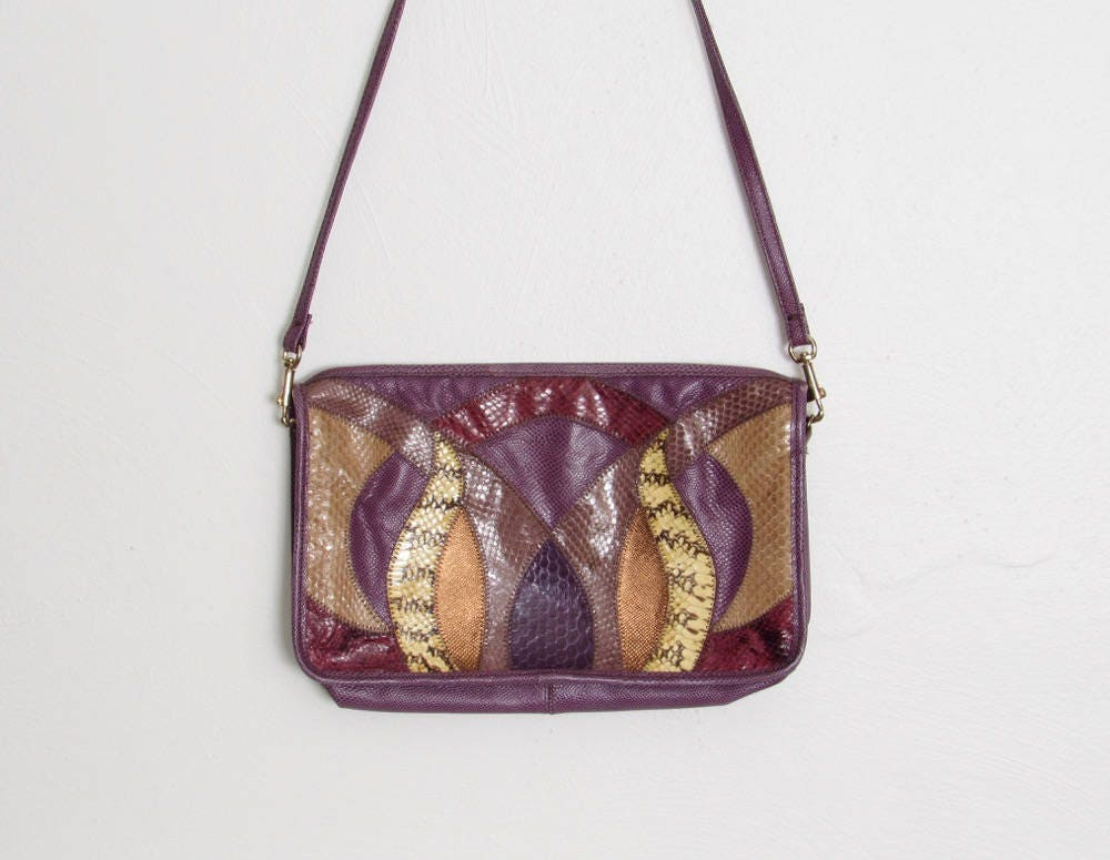 7aff4d98153 1980s Palizzio Purse   Purple   Mulitcolored Snakeskin Shoulder Bag   80s  New Wave   Rocker