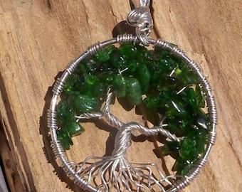 Chrome Diopside Tree of Life Pendant
