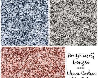Paisley Curtains, Pair of Rod Pocket Panels,  Premier Prints Segovia Slub Canvas Paisley Floral Blue Gray Red  ~ Choose Color & Size