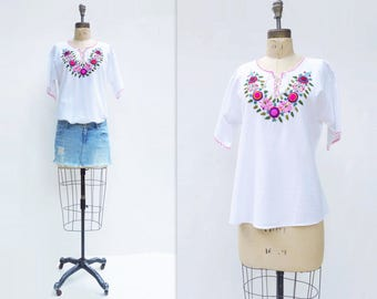 Boho Embroidered Top Vintage White Blouse Embroidered White Blouse Boho White Shirt Embroidered Blouse Mexican White Blouse Large