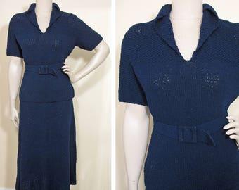 Vintage 1950s Navy Blue Knit Sweater and Skirt Set SZ M/L