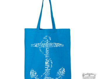 ANCHOR Eco-Friendly Market Tote Bag - Hand Screen printed +Colors (Ships FREE!) hand screen printed