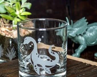 Plesiosaur Dinosaur | Etched Glass | Whiskey Glass | Unique Science Gift | Dinosaur Decor | Loch Ness Monster | Dinosaur Gift