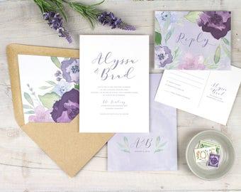 Purple floral wedding invitation, modern boho wedding invitations, purple wedding invitation, rustic wedding invitation, garden wedding