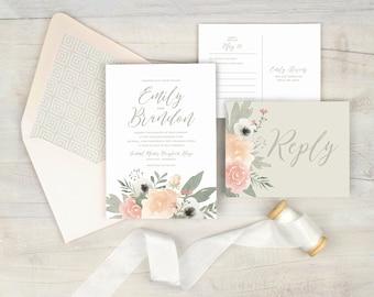 Blush floral wedding invitation, romantic wedding invitation, watercolor floral, blush wedding, blush and gray wedding, printed invitations