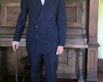Steampunk Mens Suit 1930s Double Breasted Pin Stripe Vintage Tailored Hollywood Gangster Movie