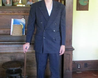 Steampunk Mens Suit 1930s Double Breasted Pin Stripe with Double stripes suit Vintage Suit Tailored Hollywood Gangster Movie Suit Navy Blue