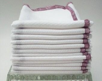Birdseye Cotton Unpaper Towels Plum Border - Reusable Paper Towels