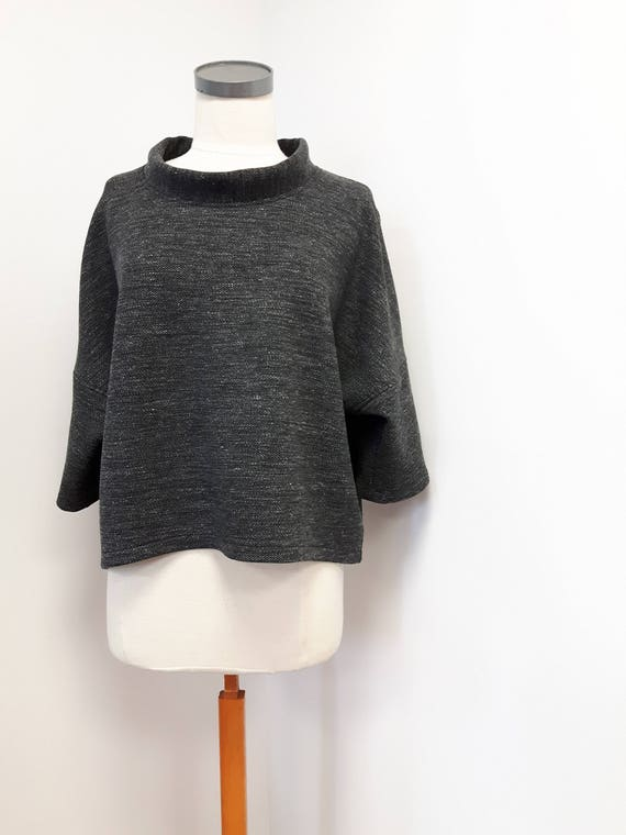 Women clothing, classic style, loose fit top, pure wool, heather gray, tweed, stylish jacket, one size