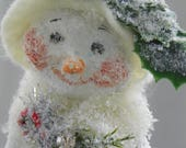 One of a Kind Paper Mache folk art snow woman