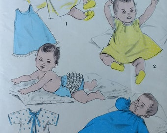 1950s Baby Infants Layette Pattern Advance 8219 Infant One Size Complete Infant Layette Wardrobe Infant kimono,cap,slip,bib panties,sleeper