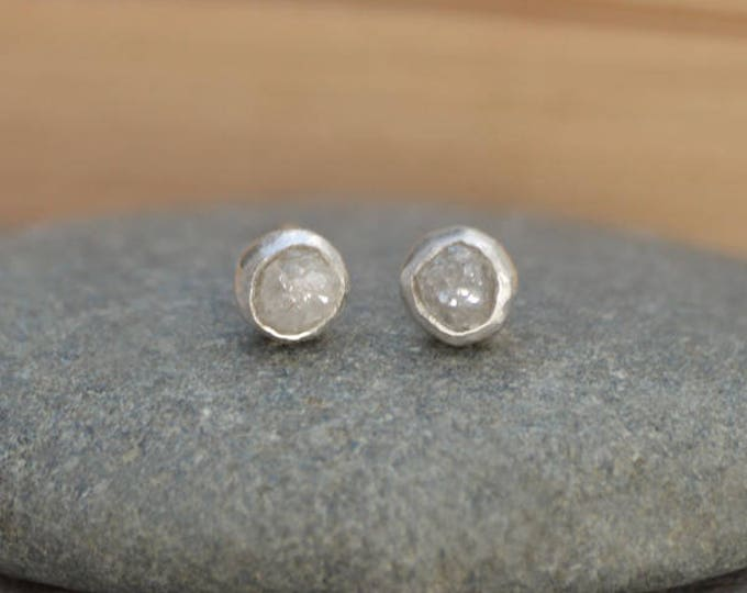 Rough Diamond Earring Studs, Total 0.45ct Diamonds, Light Grey Diamond Wedding Gift Handmade In England