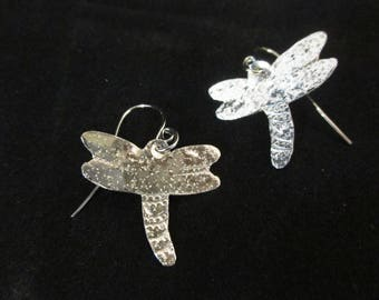 Dragon Fly Sterling Silver Earrings Subtle Texture