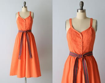Vintage Sundress / 1980s Cotton Orange Tangerine Sleeveless Dress Size S / World Traveler