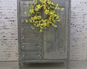 Wardrobe Armoire, Grey Cottage Style - Chic CB701 Shabby Farmhouse Chic, Dresser