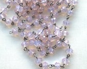 Vintage Pink Crystal Beaded Chain, Pink Opal Chain, 8mm Rondell Crystal, Easy Open Eyepin Silver Chain, Rosewater Opal, 1 Foot, SPCH66351