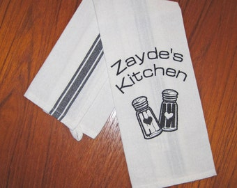 Zayde's Kitchen Embroidered Side Striped Tea Towel Black Stripe