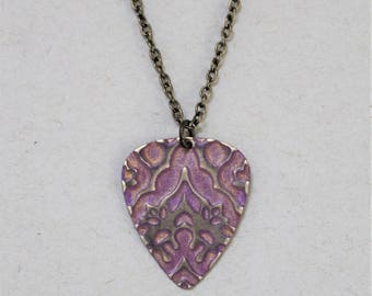 Guitar Pick Necklace for Women, Guitar Pick Jewelry, Music Jewelry, Musician Gift, Vintaj Jewelry, 16 to 18 inches, Light Purple Necklace