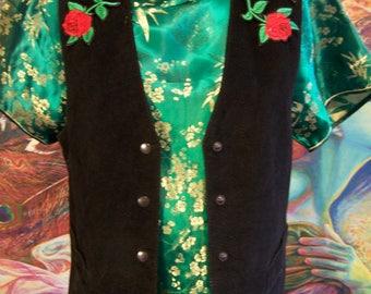 Black, Leather Vest, Roses, Vintage leather vest, Suede vest, size M