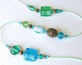 SALE! Beaded Wind Chime. Garden Chime. Foil-Lined Glass Beads. Mint Green. Aqua. Coastal Colors. Fleur-de-Lis. Antiqued Gold. Brass Bell