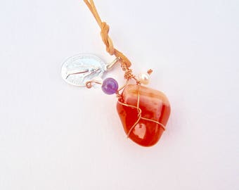 Carnelian Pendant, Necklace with Amethyst, Fresh Water Pearl, Crystal Quartz, Miraculous Medal, tan leather cord, screw clasp