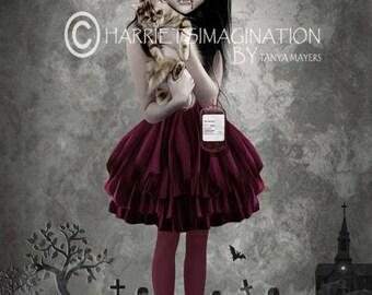 Child Of The Night - Vampire And Cat - Gothic Art Print - Vampire Girl - Cat Art - Wall Art