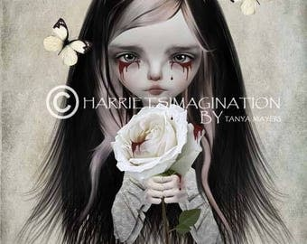 Rose Red Art Print  - Fairytale Print - Gothic Fairytale - Big Eyed Girl & Rose Portrait - Rose Red