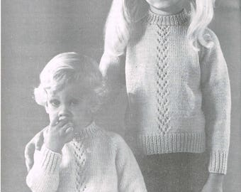 PDF Vintage Knitting Pattern - Boys and Girls matching sweaters - Downloadable  Pattern - retro 1960s Children's Sweaters or pullovers
