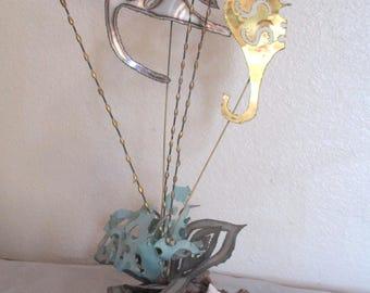 Vintage Mid Century Metal Fish Seahorse Sculpture Mid Century Modern Jere Era Torch Cut Art on Wood Burl Base