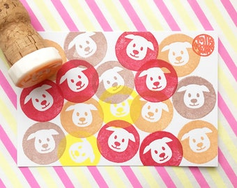 puppy dog stamp. animal hand carved rubber stamp. cute pet stamp. diy birthday invites. baby shower favor bag decor. gift for kids. mounted