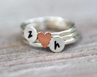 Personalized Heart Stack Rings, Initial Stack Rings, Anniversary Rings, Love Rings, Custom Initial Rings, Sterling Initial Ring