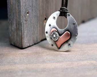 Heart Leather Choker, Copper Heart Necklace, Womens Necklace, Leather Necklace, Pink Heart Necklace, Sterling Silver, Pink Heart Necklace